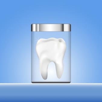 Zahn mit rohrdesign auf blauem hintergrund