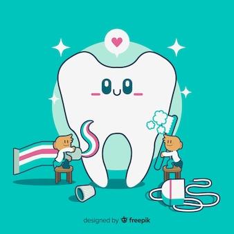 Zahnärzte, die um einem zahn sich kümmern