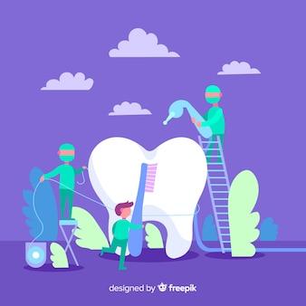 Zahnärzte, die um einem zahnhintergrund sich kümmern