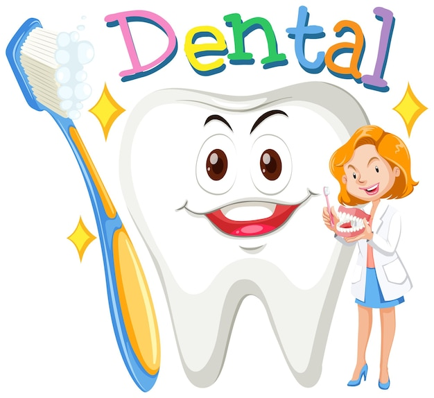 Zahnärztin mit sauberem zahn