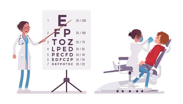 Zahnärztin und augenärztin. frau in der krankenhausuniform an der sehtestkarte, die zähne behandelt. medizin- und gesundheitskonzept. stilkarikaturillustration auf weißem hintergrund