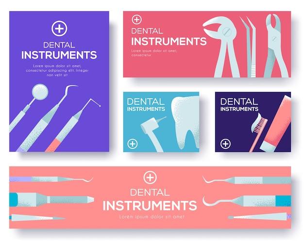 Zahnärztliche instrumente setzen designkonzept hintergrund.