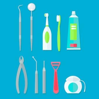 Zahnärztliche werkzeuge gesetzt