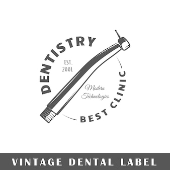 Zahnärztliches etikett isoliert auf weißem hintergrund