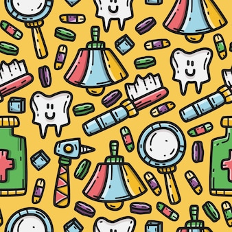 Zahnarzt cartoon gekritzel kawaii muster design vorlage