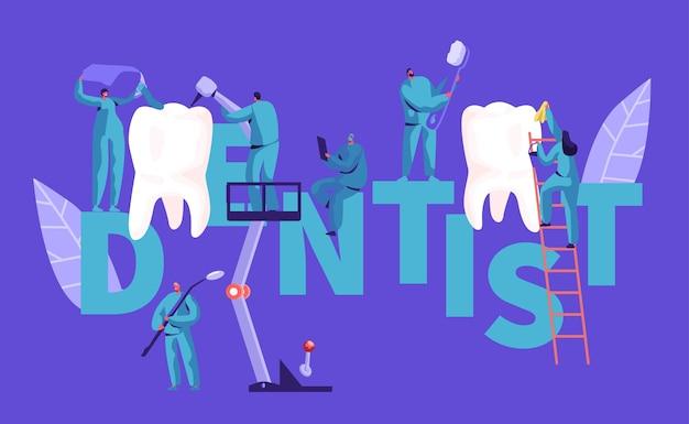 Zahnarzt charakter clean big white tooth typografie poster. hintergrund der zahnklinik. professionelle leute teamarbeit in der stomatologie werbung horizontal banner flache cartoon vektor-illustration