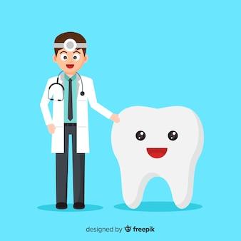 Zahnarzt, der um einem zahnhintergrund sich kümmert