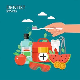 Zahnarzt hält flache artillustration instand