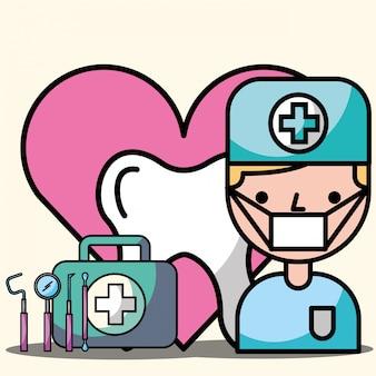 Zahnarzt junge zahn kit werkzeuge instrument behandlung