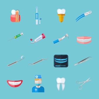 Zahnarzt lokalisierte flache ikonen