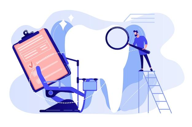 Zahnarzt mit lupe auf leiter, die großen patientenzahn und zahnarztstuhl untersucht. private zahnmedizin, zahnärztlicher service, konzept einer privaten zahnklinik. isolierte illustration des rosa korallenblauvektorvektors