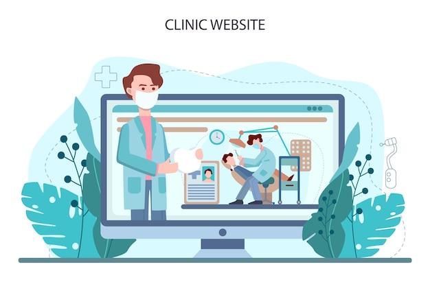 Zahnarzt-online-service oder -plattform. zahnarzt in uniform, der menschliche zähne behandelt. mundpflege. und kariesbehandlung. webseite. flache vektorillustration