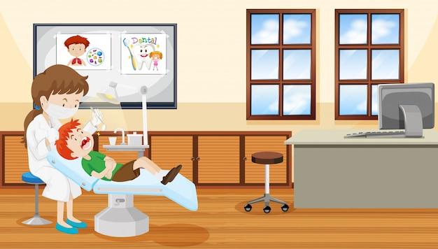 Zahnarzt- und kinderszene