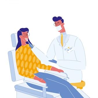 Zahnarzt-und patienten-farbvektor-illustration