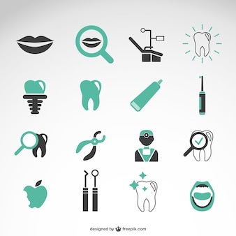 Zahnarzt vektor-icons sammlung
