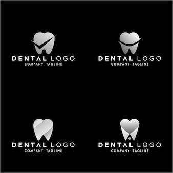 Zahnarzt vorgemachtes logo-monogramm einfaches zähne-set