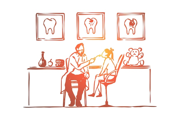 Zahnarztbesuch, kleines mädchen sitzt auf stuhl, zahnuntersuchungsillustration