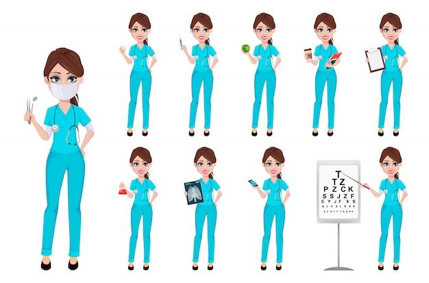 Zahnarztfrau, die werkzeuge, satz von zehn haltungen hält