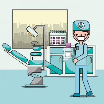 Zahnarztjunge im bürostuhl und im ausrüstungsfachmann