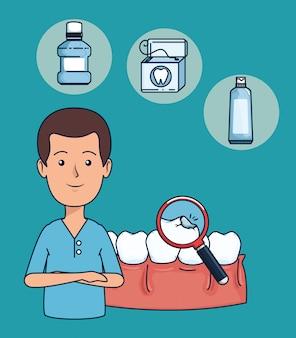 Zahnarztmann mit zahndiagnose und lupe