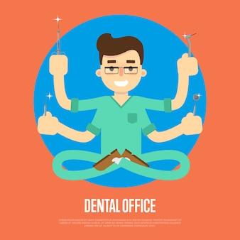 Zahnarztpraxis banner mit männlichen zahnarzt