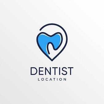 Zahnarztstandortlogo mit strichgrafikart und visitenkartenentwurfsschablone, zähnen, pflege, standort, karten, punkt, stift,