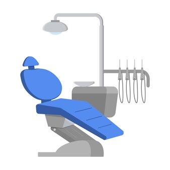 Zahnarztstuhl mit ausrüstung, blauer zahnarztstuhl in einer arztpraxis.