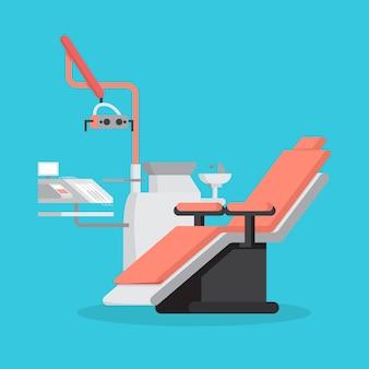 Zahnarztstuhl und medizinische ausrüstung für zähne
