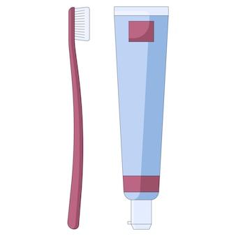 Zahnbürste mit zahnpasta-zahnsymbol mundhygiene und zahnpflege im flachen stil