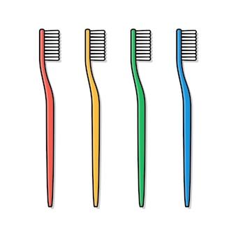 Zahnbürste symbol illustration. zahnbürste in verschiedenen farben flaches symbol