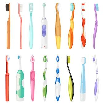 Zahnbürste zahnhygiene zahnbürste zum zähneputzen mit zahnpasta illustration zahnmedizin satz gebürstetes werkzeug auf weißem hintergrund