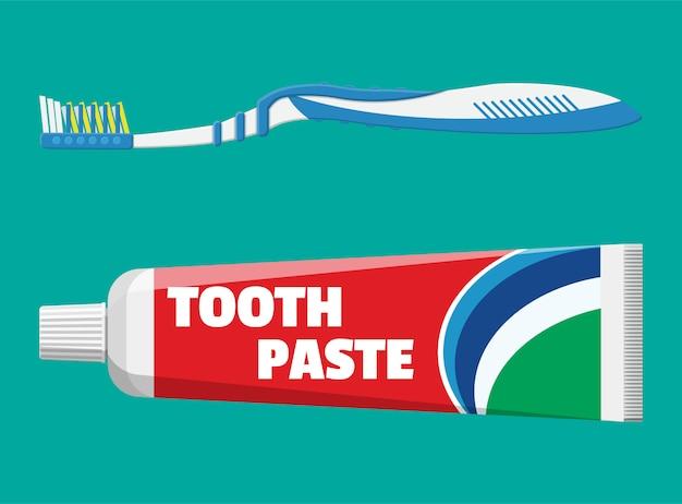 Zahnbürste, zahnpasta in tube