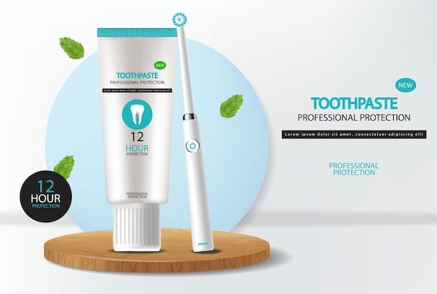 Zahnbürstenvektor realistisch. banner-modelle für produktplatzierung