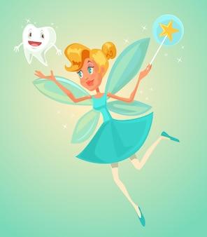 Zahnfee charakter mit zahn flache cartoon illustration