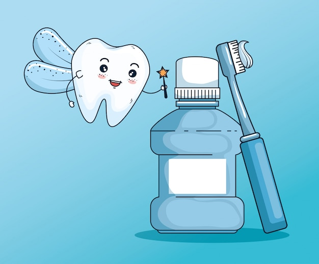 Zahnfee mit mundwasser und zahnbürstenwerkzeug