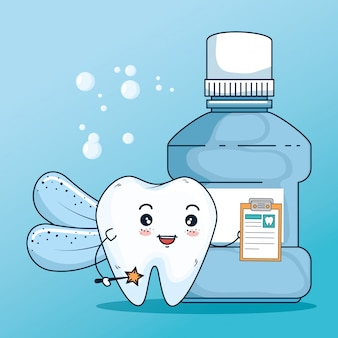 Zahngesundheitsbehandlung mit diagnose und mundwasser