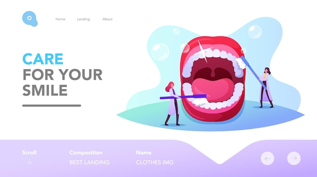 Zahnheilkunde, zielseitenvorlage für die zahnreinigung. tiny dentist characters pflege riesiger zähne bei offenem mund mit bürste und zahnpasta. kariesprävention, stomatologie. cartoon-menschen-vektor-illustration