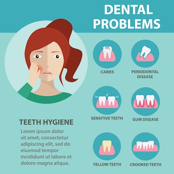 Zahnhygiene, zahnproblem gesundheitswesen infografiken. illustration.