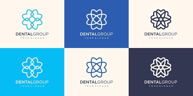 Zahnklinik-logo mit kreisförmigem blumenkonzept