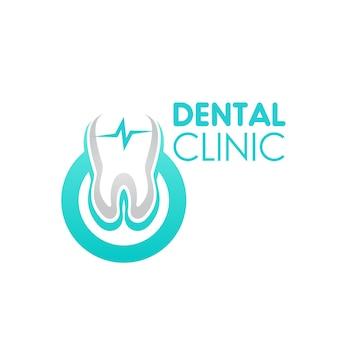Zahnklinik-symbol, vektorzeichen mit gesundem zahn