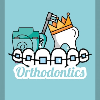 Zahnkronen kieferorthopädie zahnseide und elektrische bürste