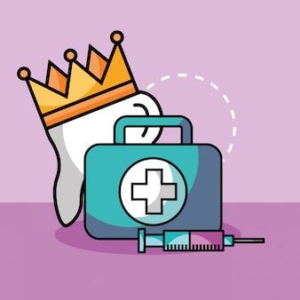 Zahnkronenspritze und kit erste hilfe