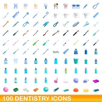 Zahnmedizin icons gesetzt. karikaturillustration von zahnmedizinikonen auf weißem hintergrund eingestellt