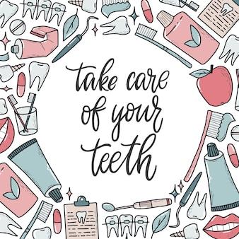 Zahnmedizin-schriftzug-zitat mit rahmen von kritzeleien