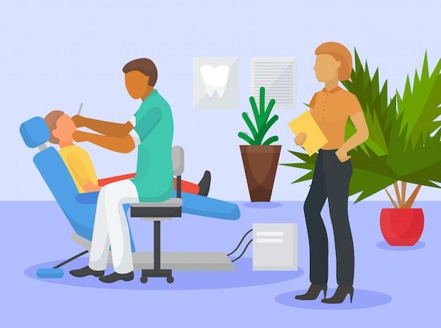 Zahnmedizinische büroreinigungsverfahren-vektorillustration. kinderzahnarzt und sein patient in einer zahnklinik. männlicher doktor, der zähne das jungensitzen, zahngesundheitswesen, doktorfrauenassistent überprüft
