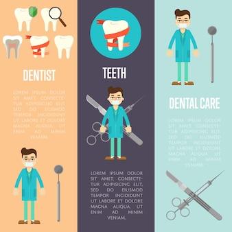 Zahnmedizinische fahnen eingestellt mit zahnarzt und instrumenten