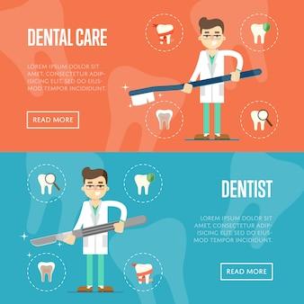 Zahnmedizinische fahnenschablone mit männlichem zahnarzt