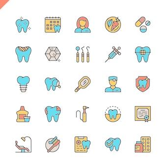 Zahnmedizinische ikonen der flachen linie eingestellt