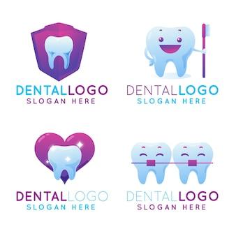 Zahnmedizinische logo-vorlagen mit farbverlauf
