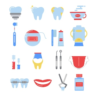 Zahnmedizinischer ikonensatz. anatomie-vektorbilder zu isolieren
